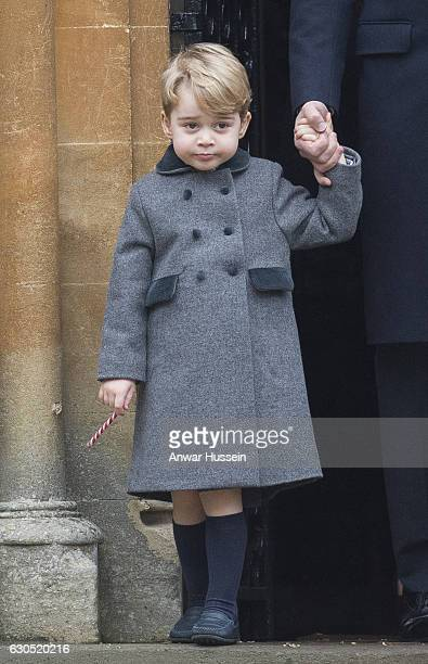 Prince George of Cambridge attends a Christmas Day service at St Marks Church on December 25 2016 in Englefield England