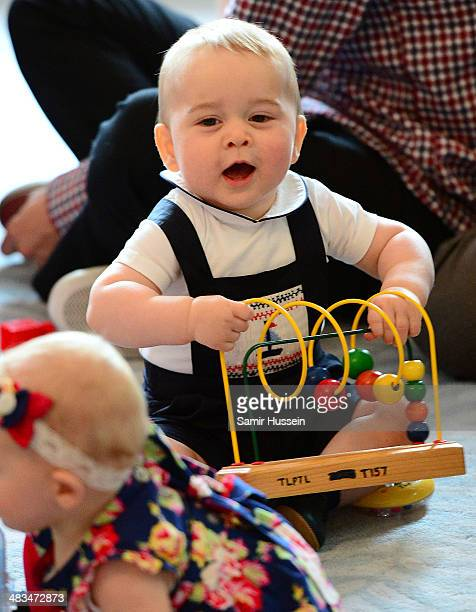 Prince George of Cambridge attends a Plunket Play Group at Government House on April 9 2014 in Wellington New Zealand The Duke and Duchess of...