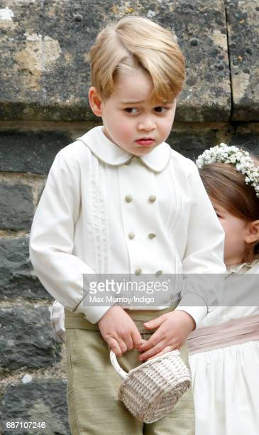 Prince George of Cambridge attends the wedding of Pippa Middleton and James Matthews at St Mark's Church on May 20 2017 in Englefield Green England