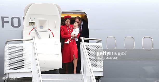 Prince George of Cambridge Catherine Duchess of Cambridge and Prince William Duke of Cambridge arrive in New Zealand at Wellington Airport on April 7...