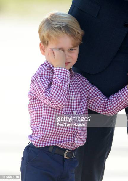 Prince George of Cambridge departs from Hamburg airport on the last day of their official visit to Poland and Germany on July 21 2017 in Hamburg...