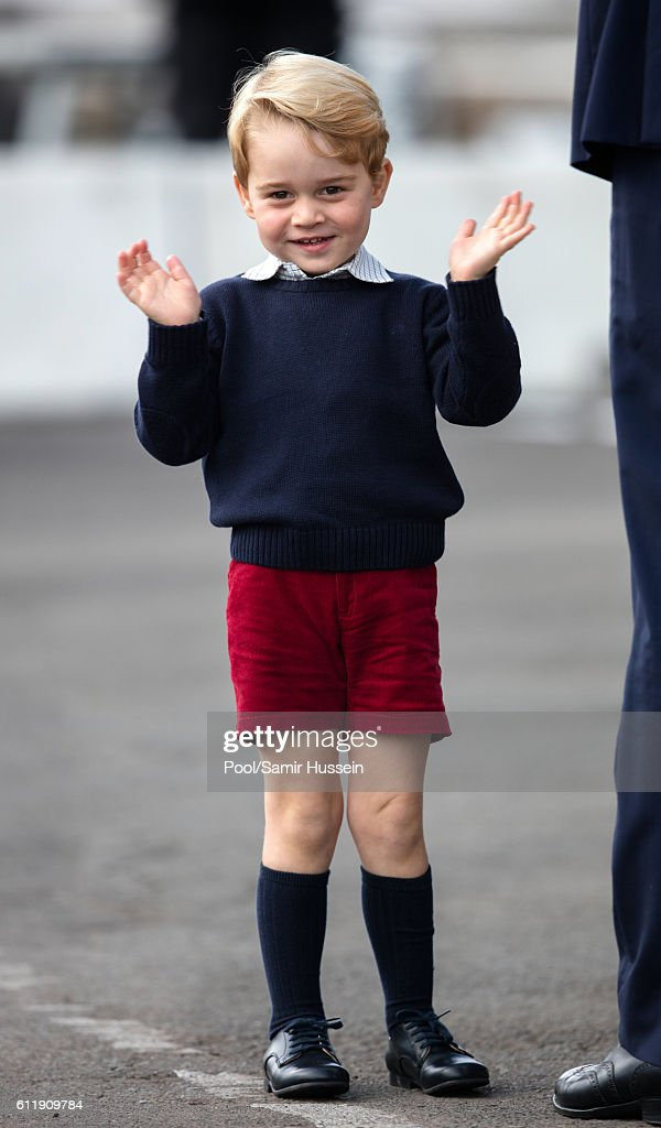 Prince George of Cambridge departs Victoria on October 1, 2016 in Victoria, Canada.