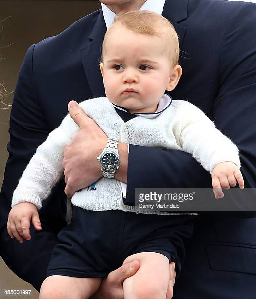 Prince George of Cambridge departs Wellington Airport on April 16 2014 in Wellington New Zealand The Duke and Duchess of Cambridge are on a threeweek...