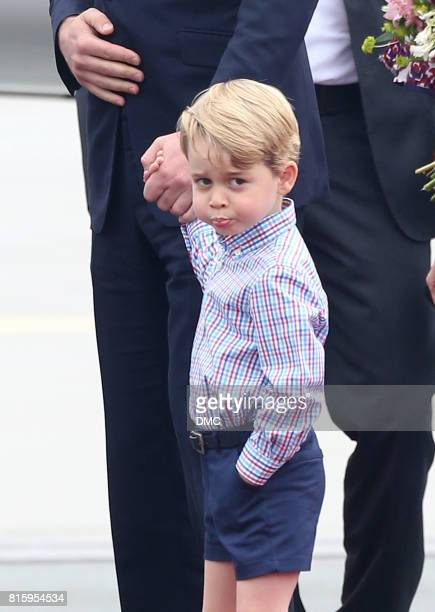 Prince George of Cambridge during an official visit to Poland and Germany on July 17 2017 in Warsaw Poland