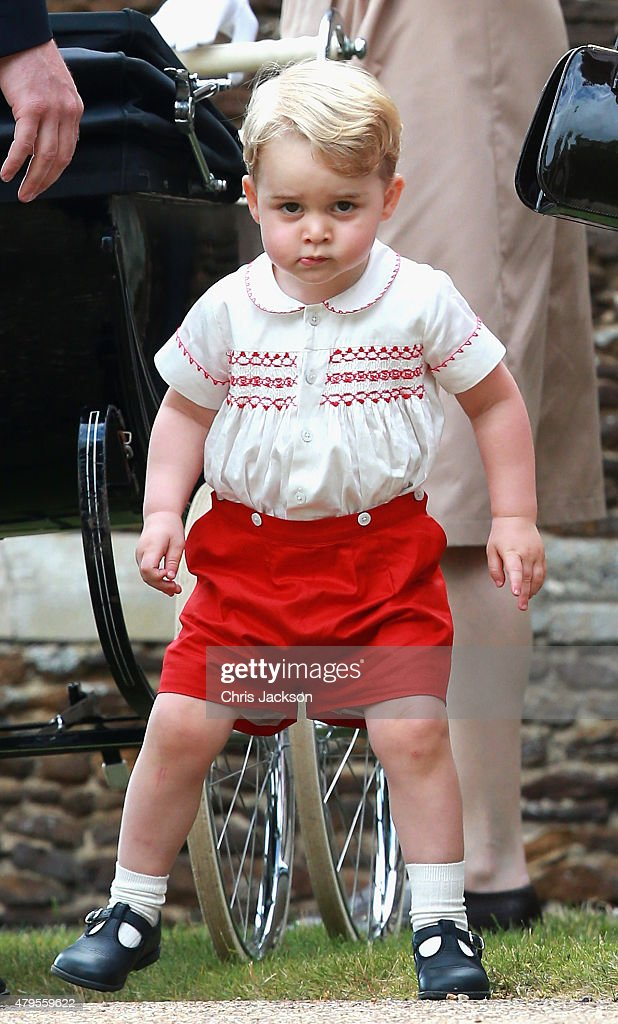 <a gi-track='captionPersonalityLinkClicked' href=/galleries/search?phrase=Prince+George+of+Cambridge&family=editorial&specificpeople=11176510 ng-click='$event.stopPropagation()'>Prince George of Cambridge</a> leaves the Church of St Mary Magdalene on the Sandringham Estate for the Christening of Princess Charlotte of Cambridge on July 5, 2015 in King's Lynn, England.