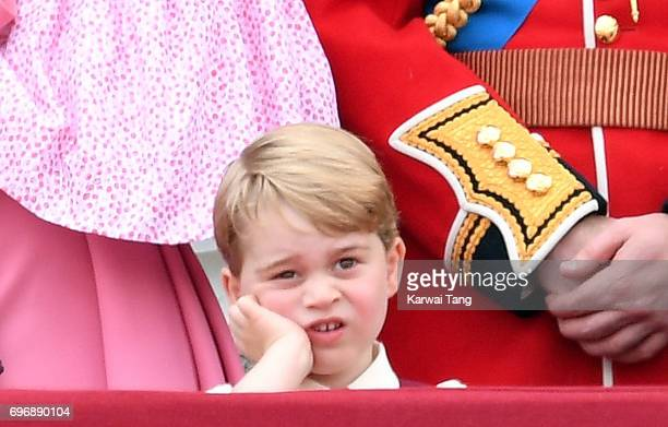 Prince George of Cambridge looks on from the balcony during the annual Trooping The Colour parade at the Mall on June 17 2017 in London England