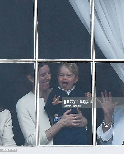 Prince George of Cambridge looks on from the window during the annual Trooping The Colour ceremony at Horse Guards Parade on June 13 2015 in London...