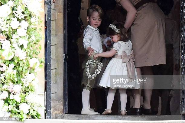 Prince George of Cambridge paige boy and Princess Charlotte of Cambridge bridesmaid attend the wedding of Pippa Middleton and James Matthews at St...