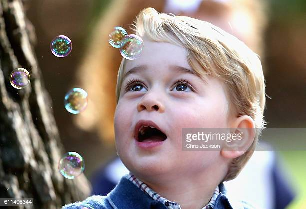 Prince George of Cambridge plays with bubbles at a children's party for Military families during the Royal Tour of Canada on September 29 2016 in...
