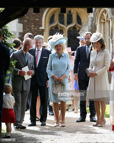 Prince George of Cambridge Prince Charles Prince of Wales Michael Middleton Camilla Duchess of Cornwall James Middleton and Carole Middleton leave...