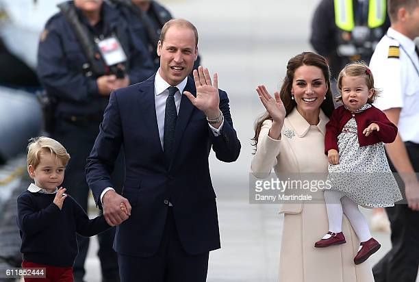 Prince George of Cambridge Prince William Duke of Cambridge Catherine Duchess of Cambridge and Princess Charlotte of Cambridge are seen leaving from...