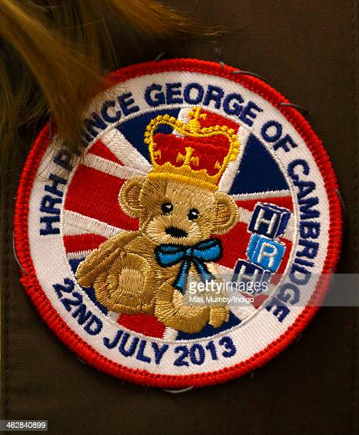 A Prince George of Cambridge sash badge seen as Sophie Countess of Wessex President of Girlguiding visits 5th Frimley Brownies on January 15 2014 in...