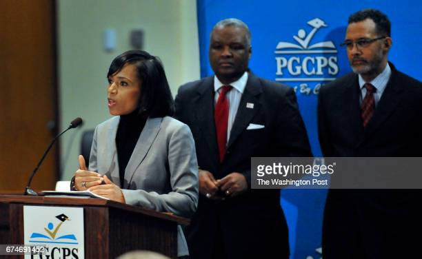 MARLBORO MD FEBRUARY 10 2016 Prince Georges County States Attorney Angela Alsobrooks speaking at the child sex abuse case press conference at the...