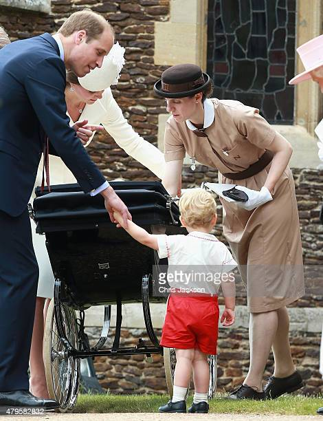 Prince George's nanny Maria Teresa Turrion Borrallo helps arrange Princess Charlotte of Cambridge's pram as she leaves the Church of St Mary...
