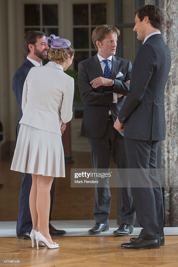 Prince Guillaume and his wife chat with Prince Pieter-Christiaan van Oranje Nassau and Prince Napoleon on June 17, 2015 in Brussel, Belgium.