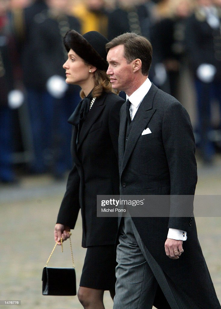 Prince Guillaume and Princess Sibilla of Luxemburg arrive for the funeral ceremony of Prince Claus of the Netherlands at the Nieuwe Kerk church October 15, 2002 in Delft, Netherlands. Prince Claus, husband to Queen Beatrix, died October 6, 2002 after a long battle with Parkinson's disease and pneumonia.