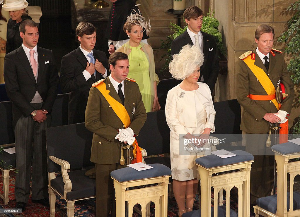 Prince Guillaume, Grand Duchess Maria Teresa, Grand Duc Henri, Prince Felix, Prince Sebastien and Princess Tessy and Prince Louis from Luxembourg assists the Te Deum at the Luxembourg Cathedral on National Day on June 23, 2009 in Luxembourg, Luxembourg.