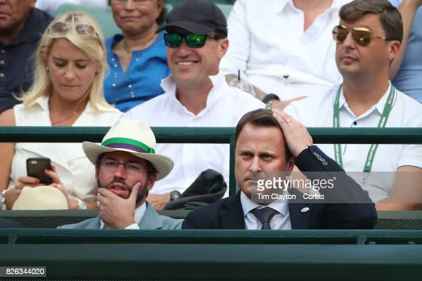 Prince Guillaume Grand Duke of Luxembourg and Luxembourg's Prime Minister Xavier Bettel watching Gilles Muller of Luxembourg in action against Marin...