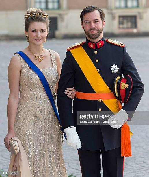Prince Guillaume Hereditary Grand Duke of Luxembourg and Stephanie Hereditary Grand Duchess of Luxembourg attend the wedding of Princess Madeleine of...
