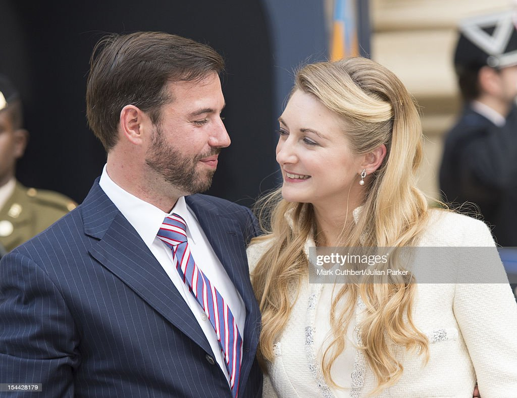 Prince Guillaume Of Luxembourg and Countess Stephanie de Lannoy arrive back at the Royal Palace after their civil wedding ceremony at the Hotel De Ville on October 19, 2012 in Luxembourg, Luxembourg. The 30-year-old hereditary Grand Duke of Luxembourg is the last hereditary Prince in Europe to get married, marrying his 28-year old Belgian Countess bride in a lavish 2-day ceremony.