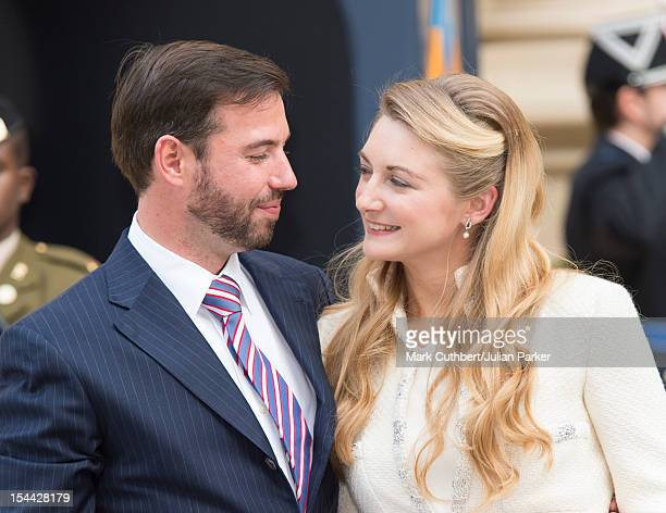 Prince Guillaume Of Luxembourg and Countess Stephanie de Lannoy arrive back at the Royal Palace after their civil wedding ceremony at the Hotel De...
