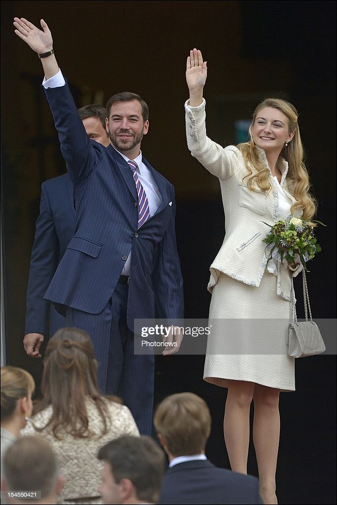 Prince Guillaume Of Luxembourg and Countess Stephanie de Lannoy during their civil wedding ceremony at the Hotel De Ville on October 19, 2012 in Luxembourg, Luxembourg. The 30-year-old hereditary Grand Duke of Luxembourg is the last hereditary Prince in Europe to get married, marrying his 28-year old Belgian Countess bride in a lavish 2-day ceremony.