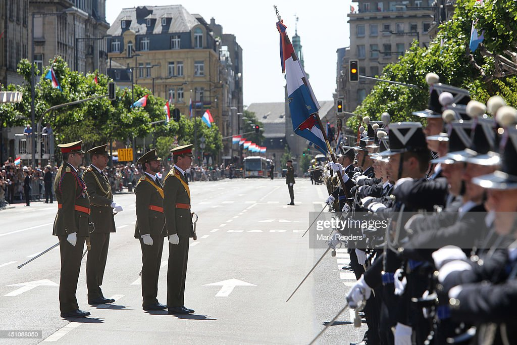 Prince Guillaume of Luxembourg and Grand Duke Henri of Luxembourg celebrate National Day during parade on June 23, 2014 in Luxembourg, Luxembourg.