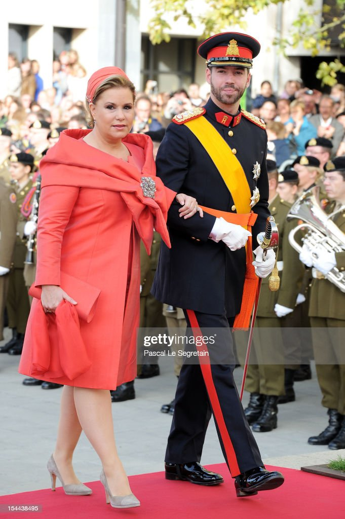 Prince Guillaume Of Luxembourg and his mother <a gi-track='captionPersonalityLinkClicked' href=/galleries/search?phrase=Grand+Duchess+Maria+Teresa&family=editorial&specificpeople=159000 ng-click='$event.stopPropagation()'>Grand Duchess Maria Teresa</a> of Luxembourg arrive at the wedding ceremony of Prince Guillaume Of Luxembourg and Princess Stephanie of Luxembourg at the Cathedral of our Lady of Luxembourg on October 20, 2012 in Luxembourg, Luxembourg. The 30-year-old hereditary Grand Duke of Luxembourg is the last hereditary Prince in Europe to get married, marrying his 28-year old Belgian Countess bride in a lavish 2-day ceremony.