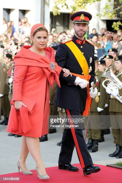 Prince Guillaume Of Luxembourg and his mother Grand Duchess Maria Teresa of Luxembourg arrive at the wedding ceremony of Prince Guillaume Of...