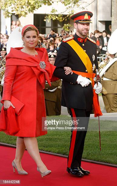 Prince Guillaume Of Luxembourg and his mother Grand Duchess Maria Teresa of Luxembourg arrive for his wedding ceremony to Countess Stephanie de...