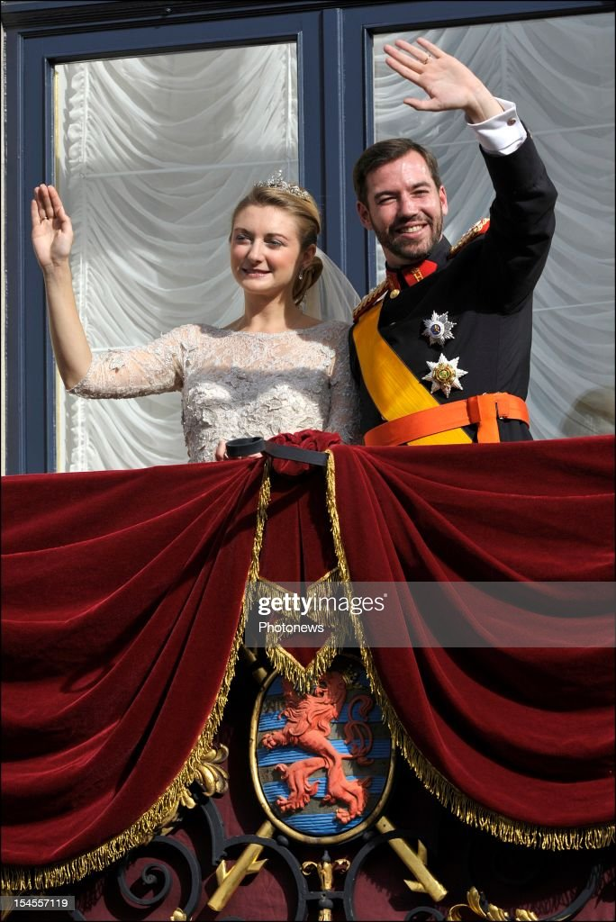 Prince Guillaume Of Luxembourg (R) and Princess Stephanie of Luxembourg on the balcony of the Grand-Ducal Palace after the wedding ceremony of Prince Guillaume Of Luxembourg and Stephanie de Lannoy at the Cathedral of our Lady of Luxembourg on October 20, 2012 in Luxembourg. The 30-year-old hereditary Grand Duke of Luxembourg is the last hereditary Prince in Europe to get married, marrying his 28-year old Belgian Countess bride in a lavish 2-day ceremony.