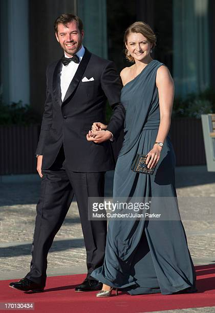 Prince Guillaume of Luxembourg and Princess Stephanie of Luxembourg attend a private dinner on the eve of the wedding of Princess Madeleine and...