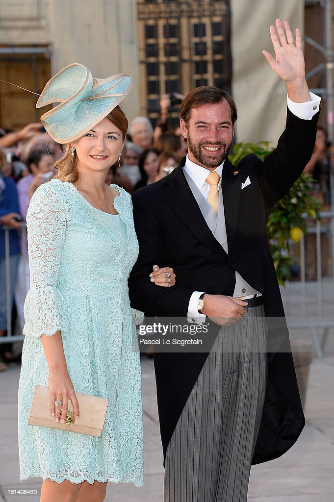 Prince Guillaume Of Luxembourg and Princess Stephanie Of Luxembourg attend the Religious Wedding Of Prince Felix Of Luxembourg & Claire Lademacher at the Basilique Sainte Marie-Madeleine on September 21, 2013 in Saint-Maximin-La-Sainte-Baume, France.