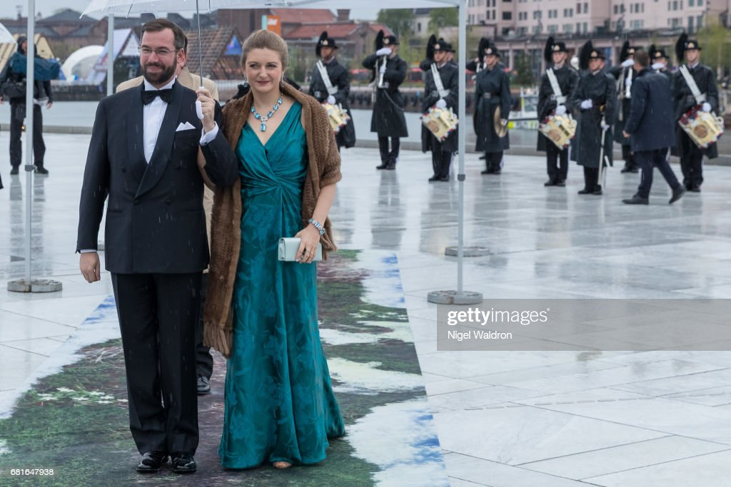 Prince Guillaume of Luxembourg and Princess Stephanie of Luxembourg arrives at the Opera House on the occasion of the celebration of King Harald and Queen Sonja of Norway 80th birthdays on May 10 2017 in Oslo, Norway.