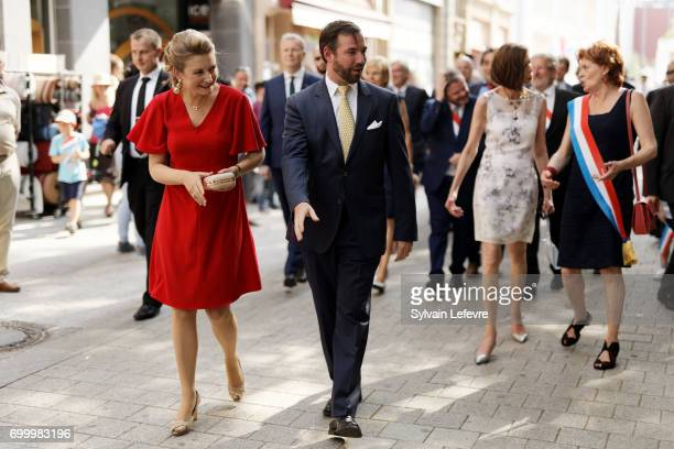 Prince Guillaume of Luxembourg and Princess Stephanie of Luxembourg visit EschsurAlzette for National Day on June 22 2017 in Luxembourg Luxembourg