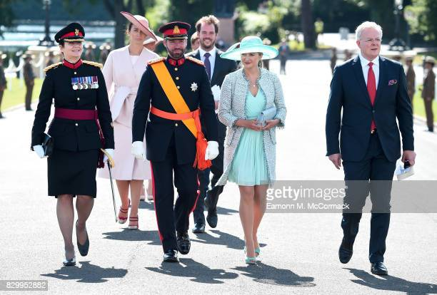 Prince Guillaume of Luxembourg and Princess Stephanie of Luxembourg attend the Sovereign's Parade at the Royal Military Academy Sandhurst on August...