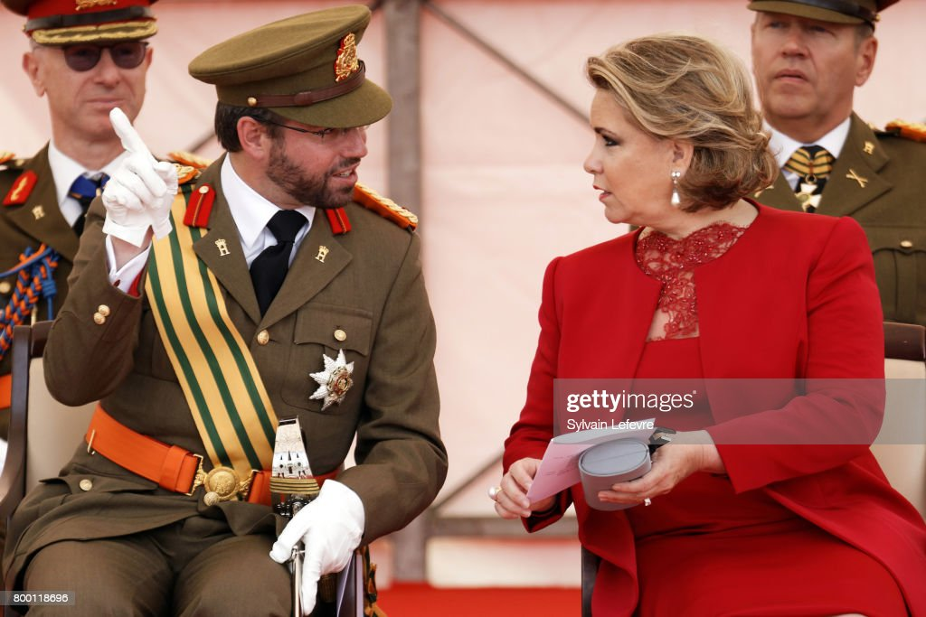 Prince Guillaume of Luxembourg, Grand Duchess Maria Teresa of Luxembourg attend National Day parade on June 23, 2017 in Luxembourg, Luxembourg.