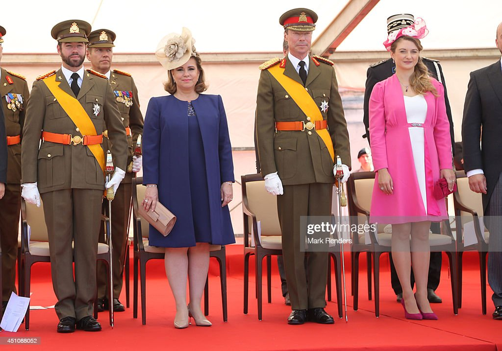 Prince Guillaume of Luxembourg, <a gi-track='captionPersonalityLinkClicked' href=/galleries/search?phrase=Grand+Duchess+Maria+Teresa&family=editorial&specificpeople=159000 ng-click='$event.stopPropagation()'>Grand Duchess Maria Teresa</a> of Luxembourg, Grand Duke Henri of Luxembourg and Princess Stephanie of Luxembourg celebrate National Day during the parade on June 23, 2014 in Luxembourg, Luxembourg.