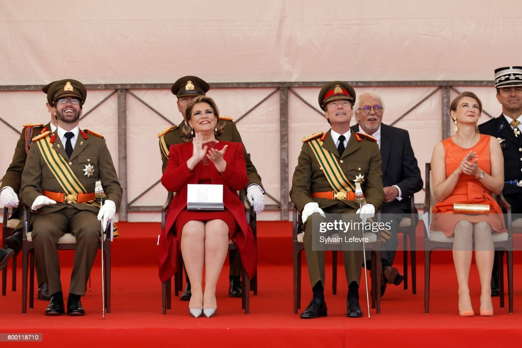 Prince Guillaume of Luxembourg, Grand Duchess Maria Teresa of Luxembourg, Grand Duke Henri of Luxembourg and Princess Stephanie attend National Day parade on June 23, 2017 in Luxembourg, Luxembourg.