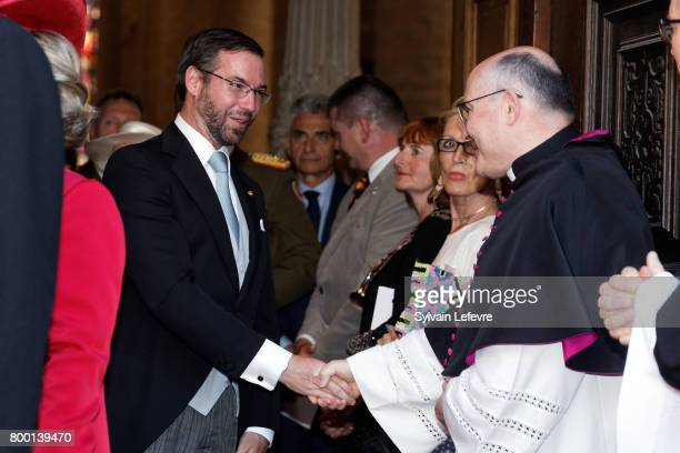 Prince Guillaume of Luxembourg leaves Notre Dame du Luxembourg cathedral after attending Te Deum for National Day on June 23 2017 in Luxembourg...