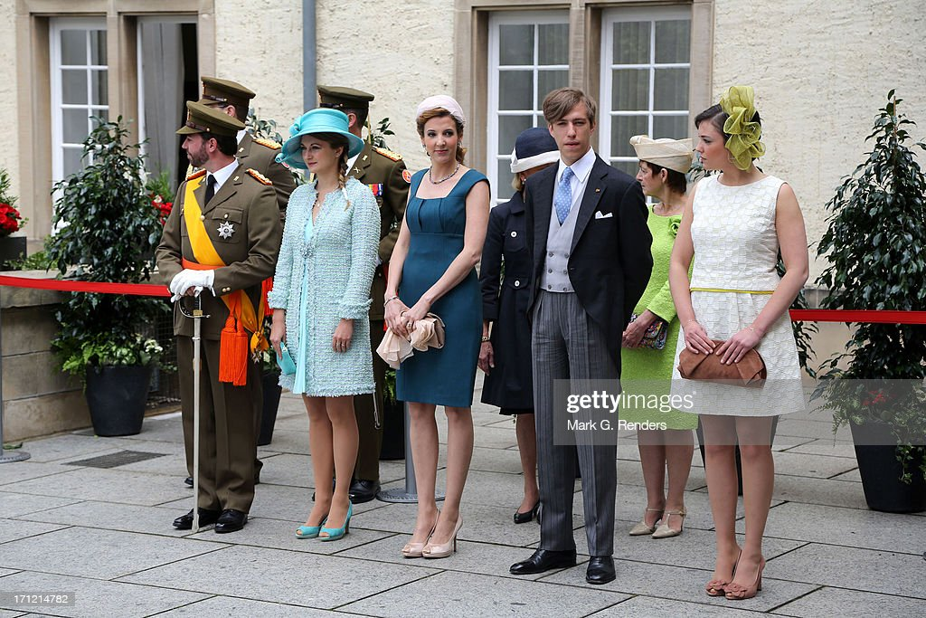 Prince Guillaume of Luxembourg, Princess Stephanie of Luxembourg, <a gi-track='captionPersonalityLinkClicked' href=/galleries/search?phrase=Princess+Tessy+of+Luxembourg&family=editorial&specificpeople=7064107 ng-click='$event.stopPropagation()'>Princess Tessy of Luxembourg</a>, <a gi-track='captionPersonalityLinkClicked' href=/galleries/search?phrase=Prince+Louis+of+Luxembourg&family=editorial&specificpeople=674475 ng-click='$event.stopPropagation()'>Prince Louis of Luxembourg</a> and Princess Alexandra of Luxembourg celebrate National Day on June 23, 2013 in Luxembourg, Luxembourg.