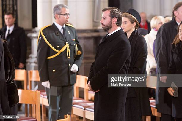 Prince Guillome and Princess Stephanie of Luxembourg attend the funeral of Queen Fabiola at Notre Dame Church on December 12 2014 in Laeken Belgium