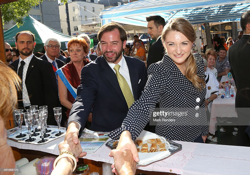 Prince Guillome and Princess Stephanie of Luxembourg visit the town Esch-sur-Alzette on June 22, 2014 in Luxembourg, Luxembourg.