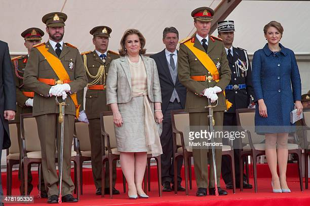 Prince Guillome Grand Duchess Maria Teresa Grand Duke Henri and Princess Stepanie of Luxembourg assist National Day on June 22 2015 in Luxembourg...