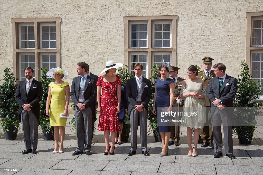 Prince Guillome, Princess Stephanie, Prince Felix, Princess Claire, Prince Louis, Princess Tessy, Princess Alexandra, Prince Sebastien of Luxembourg assist National Day on June 23, 2015 in Luxembourg, Luxembourg.
