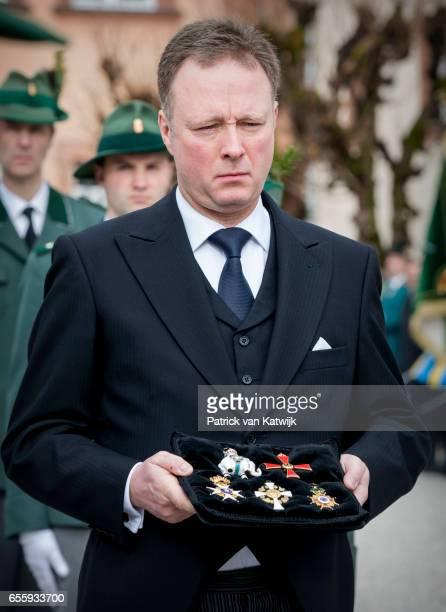 Prince Gustav zu SaynWittgensteinBerleburg attends the funeral service of Prince Richard zu SaynWittgensteinBerleburg at the Evangelische Stadtkirche...