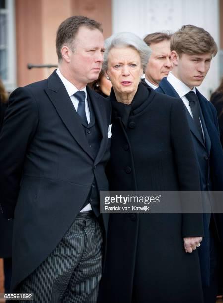 Prince Gustav zu SaynWittgensteinBerleburg Princess Benedikte of Denmark and Count Richard attend the funeral service of Prince Richard zu...