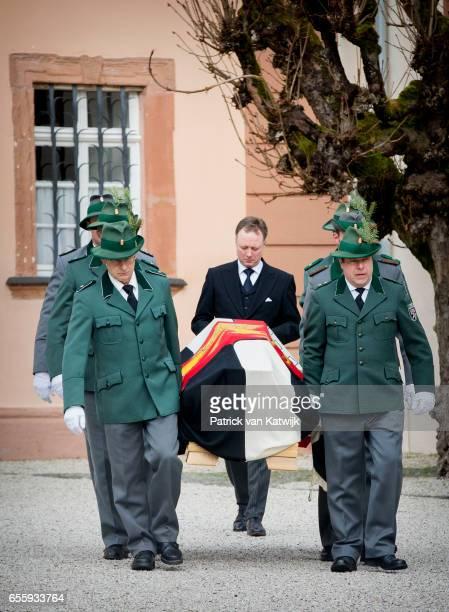 Prince Gustav zu SaynWittgensteinBerleburg walks behind the casket at the funeral service of Prince Richard zu SaynWittgensteinBerleburg at the...