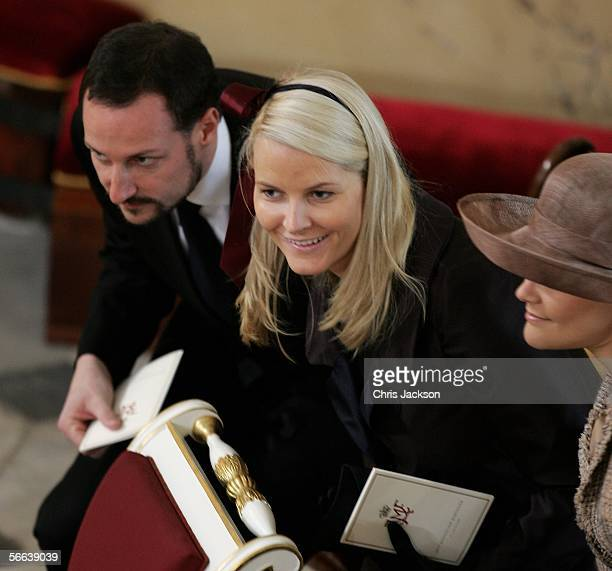 Prince Haakon of Norway and Princess MetteMarit of Norway look on during the Royal Christening of Prince Christian son of TRH Crown Prince Frederik...