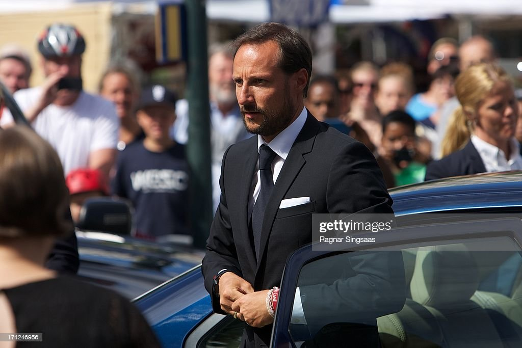 Prince Haakon of Norway attends a memorial service for the victims of the 2011 terrorist attacks on July 22, 2013 in Oslo, Norway.